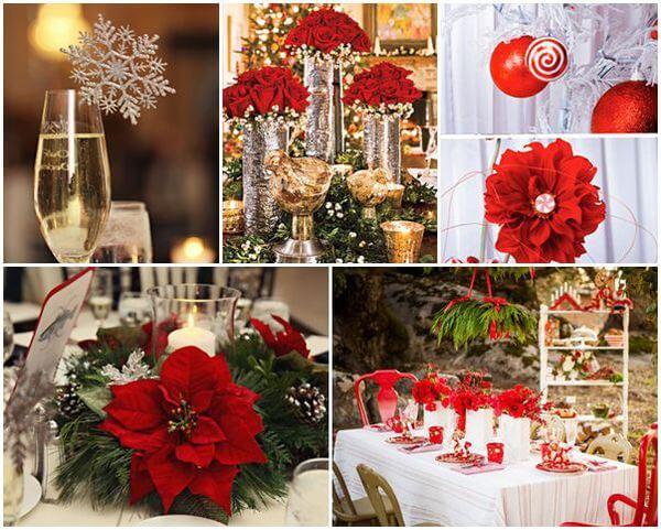 tông màu đỏ cho không gian tiệc cưới ngày lạnh