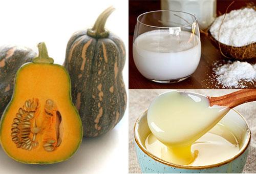 nguyên liệu làm sữa bí đỏ tăng cân cho bé